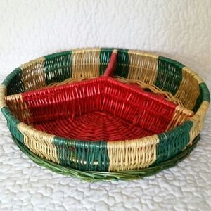 Vintage Accents - Vintage Wicker Woven Watermelon Divided Tray 14""